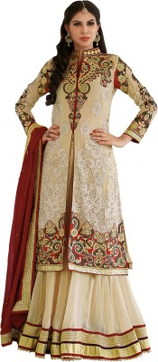 Khushali Georgette Self Design, Embroidered, Embellished Semi-stitched Lehenga Choli Material