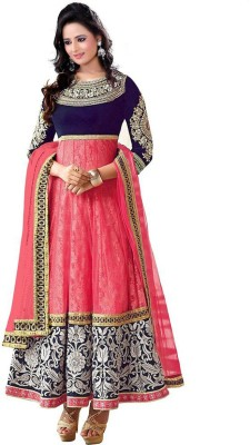Fashionatics Net Embroidered Semi-stitched Salwar Suit Dupatta Material