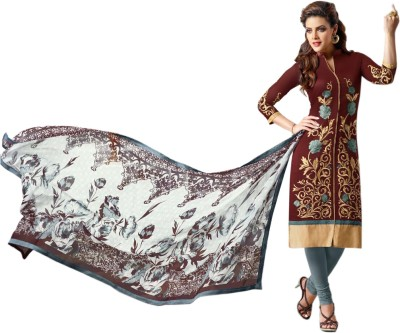 SkyBlue Fashion Chanderi Embroidered Salwar Suit Dupatta Material