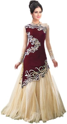 Shahlon Velvet, Net Embroidered Semi-stitched Gown & Salwar Material
