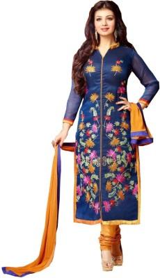 Shopkio Designer Cotton Embroidered Semi-stitched Salwar Suit Dupatta Material