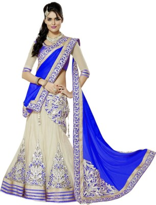 Krisha Fashion Embriodered Lehenga Saree Net, Chiffon Sari
