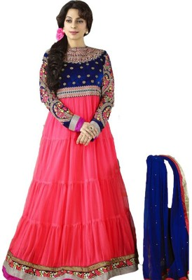 Rozdeal Net Embroidered Semi-stitched Salwar Suit Dupatta Material