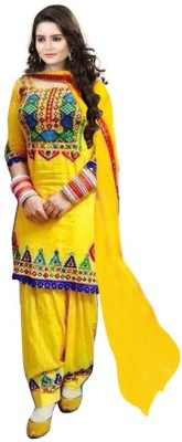 Pickurs Cotton Embroidered Semi-stitched Gown, Salwar and Dupatta Material