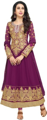 LimeThread Georgette Embroidered Semi-stitched Salwar Suit Dupatta Material