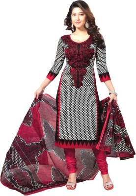 Santosafashion Cotton Printed Semi-stitched Salwar Suit Material