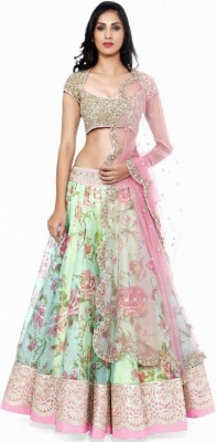 WOW Sales Embroidered Women's Lehenga, Choli and Dupatta Set