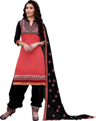 Vbuyz Cotton Embroidered Semi-stitched Salwar Suit Dupatta Material