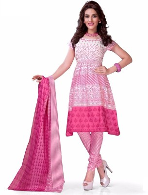F3 Fashion Cotton Self Design Semi-stitched Salwar Suit Dupatta Material