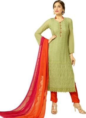 Fabliva Chiffon Embroidered Semi-stitched Salwar Suit Dupatta Material
