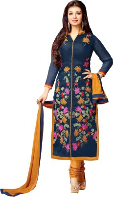 SHS Cotton Polyester Blend Embroidered Salwar Suit Dupatta Material
