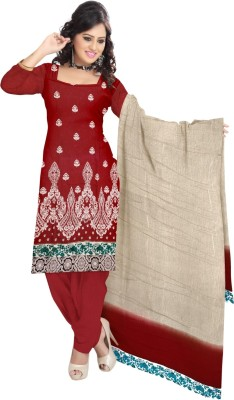 Triveni Chanderi Self Design Semi-stitched Salwar Suit Dupatta Material