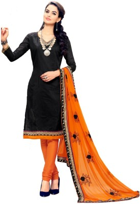 Inddus Chanderi Embroidered Salwar Suit Dupatta Material