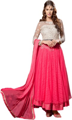 Suitevilla Net Self Design Semi-stitched Salwar Suit Dupatta Material
