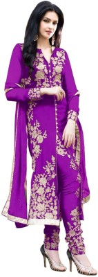 RSF Georgette Embroidered Semi-stitched Salwar Suit Dupatta Material