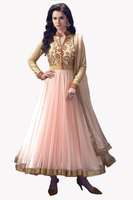 Clickedia Net Embroidered Semi-stitched Salwar Suit Dupatta Material