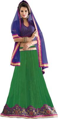 Idha Silk Striped Semi-stitched Lehenga Choli Material