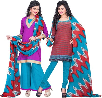 Aarna's Collection Cotton Printed, Solid Salwar Suit Dupatta Material