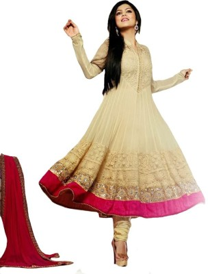 Suit Dekho Georgette Embroidered Semi-stitched Salwar Suit Dupatta Material