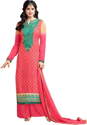 VH Fashion Brasso Embroidered Semi-stitched Salwar Suit Dupatta Material
