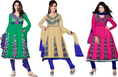 Silkbazar Cotton Polyester Blend Self Design Dress/Top Material(Un-stitched) at flipkart