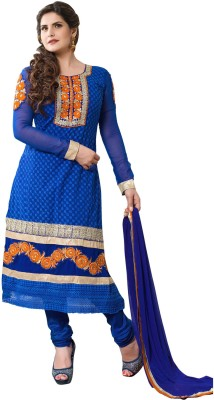 Zombom Georgette Embroidered Semi-stitched Salwar Suit Dupatta Material