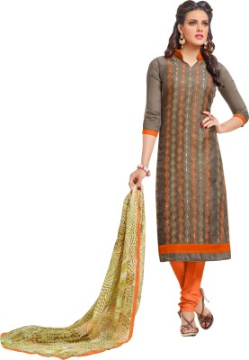 Frenzy Fashion Cotton Embroidered Semi-stitched Salwar Suit Dupatta Material
