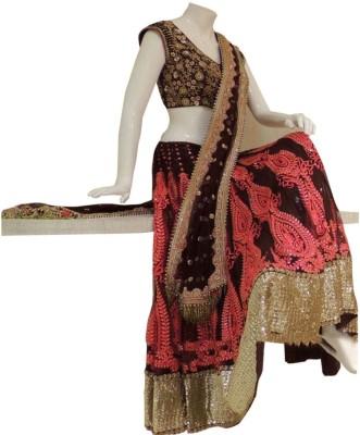 Colour Trendz Net, Jacquard Embroidered Semi-stitched Lehenga Choli Material