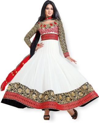 Fabfiza Georgette Self Design, Solid Semi-stitched Salwar Suit Dupatta Material