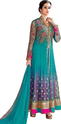 Stutti Fashion Net Embroidered Semi-stitched Salwar Suit Dupatta Material