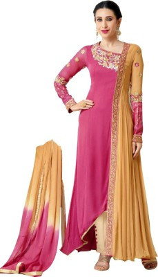 Kicker Georgette Embroidered Semi-stitched Salwar Suit Material
