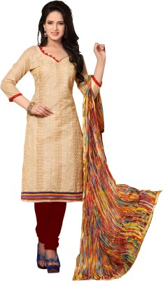 Khushali Chanderi Self Design, Embroidered Dress/Top Material