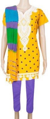 ShivamFashion Cotton Embroidered Semi-stitched Salwar Suit Dupatta Material