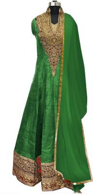 KrishaFashion Silk Embroidered Semi-stitched Salwar Suit Dupatta Material