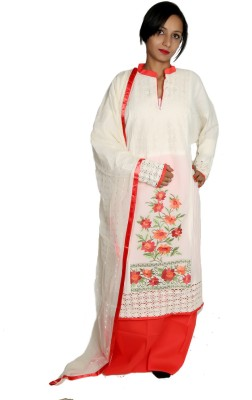 Estelo Cotton Polyester Blend Embroidered Semi-stitched Salwar Suit Material