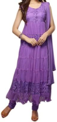 alakhenterprise Brasso Embroidered Semi-stitched Salwar Suit Dupatta Material
