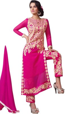 Manar Synthetic Georgette, Cotton Silk Blend Embroidered Semi-stitched Salwar Suit Dupatta Material