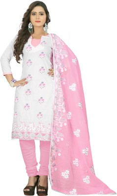 Fabviva Cotton Embroidered Dress/Top Material, Salwar Suit Dupatta Material