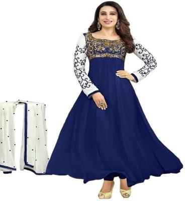 Redqueen Fashion Georgette Embroidered Semi-stitched Salwar Suit Dupatta Material