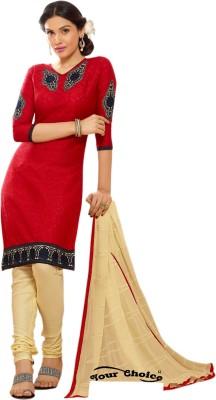 Ada Fabrics Chanderi Embroidered Salwar Suit Dupatta Material