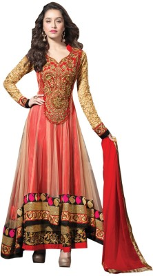 Dharm Fashion Net Embroidered Semi-stitched Salwar Suit Dupatta Material