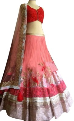 Ladyview Net Embroidered Lehenga Choli Material