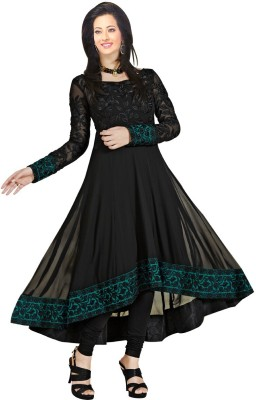 Ecoco Fashion Georgette Embroidered Semi-stitched Salwar Suit Dupatta Material