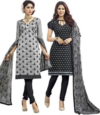 Vibranz Fashion Chanderi Self Design Salwar Suit Dupatta Material