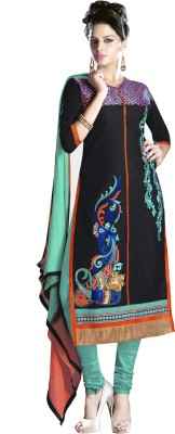 Stella Creation Cotton Embroidered Semi-stitched Salwar Suit Dupatta Material