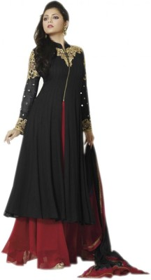 NEWLOOK Georgette Embroidered Semi-stitched Salwar Suit Dupatta Material