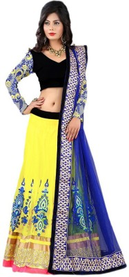 Style Mania Navy Blue Colored Velvet Lehenga Choli Net Embroidered Lehenga Choli Material