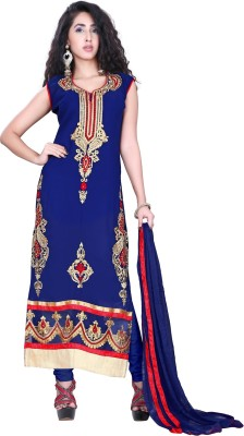 J AND J FASHION Georgette Embroidered Kurta & Churidar Material
