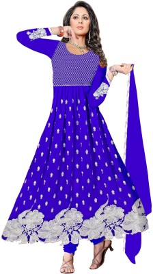 Omanksh Fashion Georgette Embroidered Semi-stitched Salwar Suit Dupatta Material