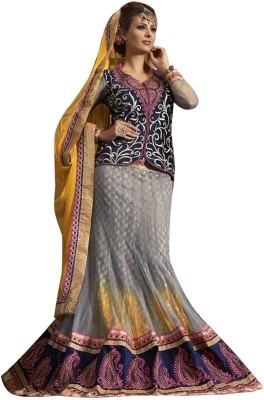 Vibes Net Embroidered Lehenga Choli Material